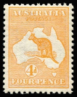 Lot 15:4d Orange (Aniline) BW #15B, well-centred, fine MUH, Cat $2,750. Drury Certificate (2017).