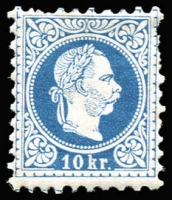 Lot 1471:1874-80 Franz Josef Fine Type Perf 9½ 10kr blue, SG #63, few nipped perfs otherwise fine mint, Cat £225.