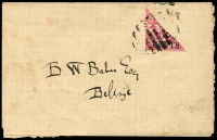 Lot 15746:1888-91 London Surcharges SG #37a 2c on 1d bisect on wrapper?, addressed locally, Cat £110.