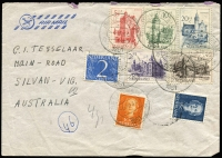 Lot 933 [3 of 7]:World Covers group incl 1892 Caracas to Germany with 'Gran Ferrocarril de Venezuela/via NEW YORK' (TPO) backstamp, small group of air covers from Netherlands to Melbourne with incl couple of 1950s full sets, 1915 censored cover Switzerland to Paris, 1900 Netherland Indies PPC from Tandjong Peora to London & 1920 PPC from Blinjoe to Melbourne, 1945 registered air cover from Sweden to Melbourne with 'Valutakontroll/Postverket' label. (21)