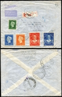 Lot 933 [4 of 7]:World Covers group incl 1892 Caracas to Germany with 'Gran Ferrocarril de Venezuela/via NEW YORK' (TPO) backstamp, small group of air covers from Netherlands to Melbourne with incl couple of 1950s full sets, 1915 censored cover Switzerland to Paris, 1900 Netherland Indies PPC from Tandjong Peora to London & 1920 PPC from Blinjoe to Melbourne, 1945 registered air cover from Sweden to Melbourne with 'Valutakontroll/Postverket' label. (21)