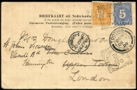 Lot 933 [6 of 7]:World Covers group incl 1892 Caracas to Germany with 'Gran Ferrocarril de Venezuela/via NEW YORK' (TPO) backstamp, small group of air covers from Netherlands to Melbourne with incl couple of 1950s full sets, 1915 censored cover Switzerland to Paris, 1900 Netherland Indies PPC from Tandjong Peora to London & 1920 PPC from Blinjoe to Melbourne, 1945 registered air cover from Sweden to Melbourne with 'Valutakontroll/Postverket' label. (21)