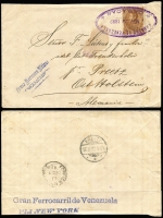 Lot 933 [1 of 7]:World Covers group incl 1892 Caracas to Germany with 'Gran Ferrocarril de Venezuela/via NEW YORK' (TPO) backstamp, small group of air covers from Netherlands to Melbourne with incl couple of 1950s full sets, 1915 censored cover Switzerland to Paris, 1900 Netherland Indies PPC from Tandjong Peora to London & 1920 PPC from Blinjoe to Melbourne, 1945 registered air cover from Sweden to Melbourne with 'Valutakontroll/Postverket' label. (21)