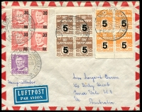 Lot 16462:1955 (Dec 12) air cover to Australia with blocks of 4 of 30 on 20ø, 5 on 6ø, 5 on 7ø and 25ø violet, cancelled with special double-circle 'I JYLLAND+SKIVEN+HAVNEBYEN MIDT/12.12.55.19.00'.