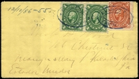 Lot 1770 [2 of 5]:1866-1940s [1] 1866 1c blue pair '69 1866' opt, from Jalapa to Puebla, [2] 1886 1c pair & 3c Hidalgo on cover from Sahuaripa to Philadelphia, nice Nogales, Arizona transit, [3] c.1900 5c blue Statue on cover to Philadelphia x2 (both poor) one from Gomex Palcia and the other from Torreón, [4] 1903 1d purple Eagle on tiny official cover from the Government of San Luis Potosí to the Mexican Consul on El Paso, Texas, unsealed for Printed Matter rate?, [5] c.1910 cover with 10c Allende from La Mercantil Ensenada to Los Angeles, [6] 1938 use of 10c & 20c on illustrated cover from Mexicali to Tijuana. (8)