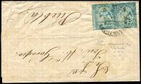 Lot 1770 [3 of 5]:1866-1940s [1] 1866 1c blue pair '69 1866' opt, from Jalapa to Puebla, [2] 1886 1c pair & 3c Hidalgo on cover from Sahuaripa to Philadelphia, nice Nogales, Arizona transit, [3] c.1900 5c blue Statue on cover to Philadelphia x2 (both poor) one from Gomex Palcia and the other from Torreón, [4] 1903 1d purple Eagle on tiny official cover from the Government of San Luis Potosí to the Mexican Consul on El Paso, Texas, unsealed for Printed Matter rate?, [5] c.1910 cover with 10c Allende from La Mercantil Ensenada to Los Angeles, [6] 1938 use of 10c & 20c on illustrated cover from Mexicali to Tijuana. (8)