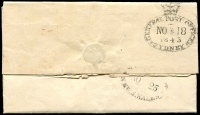 "Lot 1163 [2 of 2]:1843 (Nov 18) pre-stamp entire from Sydney to Melbourne, endorsed Per Overland Mail & rated ""1/3"" (500-600 mile mail route), nice crown oval 'GENERAL POST OFFICE/NO*18/1843/SYDNEY' departure datestamp & poor oval 'MELBOURNE/(crown)/NO*25/1843/NEW S WALES' arrival datestamp both in black, fold related tears on face."