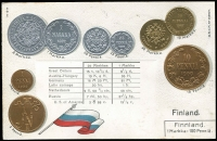 Lot 1123:Coin Postcard: Finland with Embossed coins and flag of Finland. Adhesions on rear otherwise fine unused.