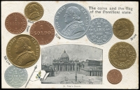 Lot 1133:Coin Postcard: Vatican with Embossed coins, flag of Vatican and scene of St Peter's Church. Adhesions on rear otherwise fine unused.