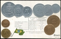 Lot 1120:Coin Postcard: Brazil with Embossed coins and flag of Brazil. Adhesions on rear otherwise fine unused.