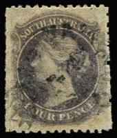 Lot 1225 [1 of 2]:1867-70 Perf 11½-12½xRoulettes 4d dull violet with uncatalogued Double roulettes, SG #54, Cat £160+ as normal.