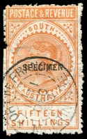 Lot 1232:1886-96 'POSTAGE & REVENUE' 15/- brownish-yellow P11½-12½, 12¼mm 'SPECIMEN', unusually with 1892 Port de France Martinique cancel, presumably applied when receipted into the Martinique UPU collection.
