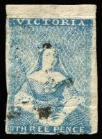 Lot 1267:1850-53 Half-Length Ham 1st State 2d blue [pos 1], SG #4a, hinge thin and crease, margins big to just cut into, Cat £500.