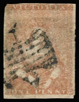 Lot 1268:1850-53 Half-Length Ham 2nd State 1d pale dull red-brown [27], SG #5a, good margins to just cut into, Cat £500.