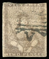 Lot 1269:1850-53 Half-Length Ham 2nd State 2d grey-lilac, SG #6, shallow thin, good margins to just cut into, Cat £225.