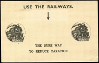 Lot 610 [1 of 2]:1935 (Feb 13) use of 1½d red Die II perf 'OS' on attractive South Australian Railway's Postcard, back is illustrated with trains and an exhortation to 'USE THE RAILWAYS. THE SURE WAY TO REDUCE TAXATION.'.