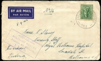 Lot 614 [3 of 7]:1941-46 Group of covers, mainly 1941-42, from soldier to his girlfriend/fiancee in Melbourne. Begins in Mount Martha No. 1 and FPO 051, transfers to Bellevue & Moora WA with FPO 052 and UPS S.77 x12 (all unrecorded prior to its move to NT) plus one later from 1943 NT period. Then gap of 2 yrs and finally 3 covers in late 1945 from No6 Aust Base PO A at Balikpapan, Borneo. (c.60)