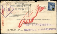 Lot 856 [3 of 4]:1942 (Feb) four censored commercial covers to Batavia, all from The National Bank of Australia, Sydney to 2 separate addresses. All with censor tape and 'NOT TRANSMISSIBLE/SERVICE SUSPENDED' handstamps in violet & pointed finger in red. Odd minor blemishes. (4)