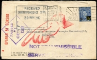 Lot 856 [4 of 4]:1942 (Feb) four censored commercial covers to Batavia, all from The National Bank of Australia, Sydney to 2 separate addresses. All with censor tape and 'NOT TRANSMISSIBLE/SERVICE SUSPENDED' handstamps in violet & pointed finger in red. Odd minor blemishes. (4)