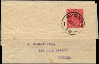 Lot 589:1915-19 1d Red KGV Sideface Die II PTPO, BW #WS9, with 18FE21 Sydney cds, addressed locally. A very rare complete wrapper.