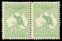 Lot 14:½d Green Wmk inverted pair, BW #1a, good mint, Cat $300+.