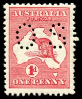 Lot 21 [1 of 2]:1d Red Die IIA mint selection incl strip of 3 and small perf 'OS' (Cat $325) and 'OS/NSW' perfin, nicely mounted on page. (15)