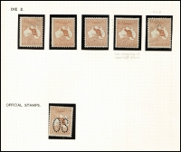 Lot 38:5d Chestnut mint group incl perf large 'OS' single and CTO single, nicely mounted on page, Cat $1,650. (6)