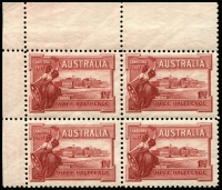 Lot 2062 [1 of 2]:1927 1½d Canberra Plate No '6' (60%) upper-left corner block of 4, BW #132ze, MUH, Cat $2,000+.