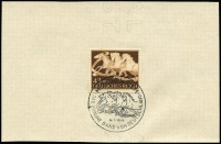 Lot 1425 [3 of 10]:1935-42 group of covers, mainly special cancels, incl AR from Deutsch Krone (Pom) with 15pf, 80pf & 50pf pair, 42+108pf Brown Band on wmked piece with special cancel, 1942 Soviet Paradise PPC with 1941 Sports set & special cancel, 1935 Hitler Putsch pair on Norddeutscher Lloyd Bremen PPC of Madrid, etc. (13)