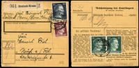 Lot 1425 [1 of 10]:1935-42 group of covers, mainly special cancels, incl AR from Deutsch Krone (Pom) with 15pf, 80pf & 50pf pair, 42+108pf Brown Band on wmked piece with special cancel, 1942 Soviet Paradise PPC with 1941 Sports set & special cancel, 1935 Hitler Putsch pair on Norddeutscher Lloyd Bremen PPC of Madrid, etc. (13)