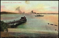Lot 1195 [2 of 2]:2006: (A2) on 1d Arms tied by framed 'BEROWRA/AP21/190[0]/N.S.W' (B2) on multicoloured PPC 'From Watson's Bay, Sydney Harbour' Art (?) Series card, toning mainly on back on card. [Rated 3R]  Allocated to Berowra-RO 1/4/1897; PO 20/8/1900.