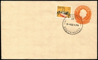 Lot 1213 [3 of 3]:Three unaddressed 18c Envelopes + 2c Crab with very fine cancels of '14' (22AU78), '59' (25SE79) & '67' (10OC78), their allocations are noted on the backs. (3)