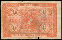 Lot 724 [1 of 2]:Beer Duty: 1881 4/6d vermilion One Kilderkin x2, normal faulty condition. Elsmore Online $60. (2)