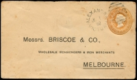 Lot 911 [2 of 2]:1892 (Jul 1) use of Briscoe & Co PTPO 1d brown Envelope, flap sealed with 'C. PITSCHNER/IRONMONGER/ALEXANDRIA' violet double-oval handstamp