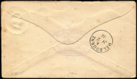 Lot 911 [1 of 2]:1892 (Jul 1) use of Briscoe & Co PTPO 1d brown Envelope, flap sealed with 'C. PITSCHNER/IRONMONGER/ALEXANDRIA' violet double-oval handstamp