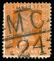 Lot 1229:1124: 'MC/24' (A2, 1st type) on 1d brown. [Rated 4R]  Allocated to St. Kilda West-PO c.-/3/1879; renamed St. Kilda R.S. PO 1/10/1886; replaced by St. Kilda West PO 24/10/1970.