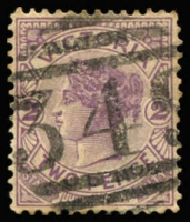 Lot 1223:349: '349' (A2, 2nd type) on 2d violet. [Rated 3R]  Allocated to Green Hill-PO 1/7/1861; replaced by Green Hills R.S. PO 1/4/1891; renamed Green Hill PO c.1904; closed 31/8/1962.