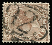 Lot 1228:923: (B2, 1st type) on 2d sepia. [Rated 4R]  Allocated to Buckrabanyule-PO 23/11/1875; renamed Hallam PO 1/7/1884; closed 21/10/1895.