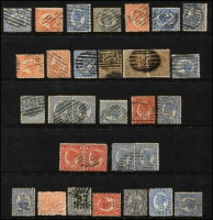 Lot 646 [4 of 8]:Numeral Cancellations on 8 Hagners from New South Wales, Queensland & Victoria, neatly arranged in numerical order. Few better items noted. (c.280)