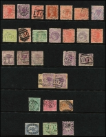 Lot 646 [1 of 8]:Numeral Cancellations on 8 Hagners from New South Wales, Queensland & Victoria, neatly arranged in numerical order. Few better items noted. (c.280)
