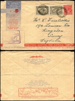 Lot 870 [2 of 2]:1931 Kingsford Smith 2d, 3d and 6d on illustrated registered FDC flown (19 Mar - first day) Melbourne-Sydney, signed C Kingsford Smith, AAMC #181, Cat $350. Plus 6d sepia pair & 2d red KGV on 1st All-Australia airmail cover. (2)