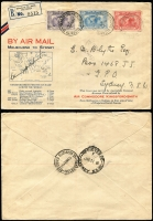Lot 870 [1 of 2]:1931 Kingsford Smith 2d, 3d and 6d on illustrated registered FDC flown (19 Mar - first day) Melbourne-Sydney, signed C Kingsford Smith, AAMC #181, Cat $350. Plus 6d sepia pair & 2d red KGV on 1st All-Australia airmail cover. (2)