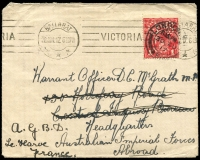 Lot 832 [2 of 5]:1915-18 group of covers with 1d red ('OS' x1), all addressed to servicemen, several marked as undeliverable, one with AIF Returned Letter Office repair tape. (12)