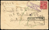 Lot 832 [3 of 5]:1915-18 group of covers with 1d red ('OS' x1), all addressed to servicemen, several marked as undeliverable, one with AIF Returned Letter Office repair tape. (12)
