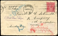 Lot 832 [4 of 5]:1915-18 group of covers with 1d red ('OS' x1), all addressed to servicemen, several marked as undeliverable, one with AIF Returned Letter Office repair tape. (12)