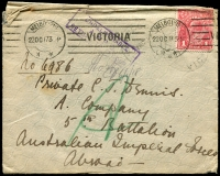 Lot 832 [5 of 5]:1915-18 group of covers with 1d red ('OS' x1), all addressed to servicemen, several marked as undeliverable, one with AIF Returned Letter Office repair tape. (12)