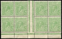 Lot 352 [3 of 5]:½d Green Electro 4 large mint blocks with half pane of 30, gutter block of 12, gutter block of 8 and irregular block of 16, incl varieties White flaw over E of POSTAGE, White flaw in left of left value tablet, Notch in end of Kangaroo's tail, & White spot between TA of POSTAGE, BW #65(4)p,r,s,va, mainly MUH, neatly mounted on annotated pages. (96)