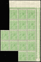 Lot 352 [4 of 5]:½d Green Electro 4 large mint blocks with half pane of 30, gutter block of 12, gutter block of 8 and irregular block of 16, incl varieties White flaw over E of POSTAGE, White flaw in left of left value tablet, Notch in end of Kangaroo's tail, & White spot between TA of POSTAGE, BW #65(4)p,r,s,va, mainly MUH, neatly mounted on annotated pages. (96)