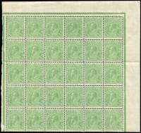Lot 352 [5 of 5]:½d Green Electro 4 large mint blocks with half pane of 30, gutter block of 12, gutter block of 8 and irregular block of 16, incl varieties White flaw over E of POSTAGE, White flaw in left of left value tablet, Notch in end of Kangaroo's tail, & White spot between TA of POSTAGE, BW #65(4)p,r,s,va, mainly MUH, neatly mounted on annotated pages. (96)