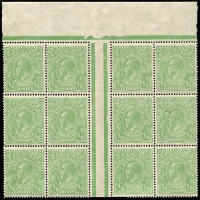 Lot 352 [1 of 5]:½d Green Electro 4 large mint blocks with half pane of 30, gutter block of 12, gutter block of 8 and irregular block of 16, incl varieties White flaw over E of POSTAGE, White flaw in left of left value tablet, Notch in end of Kangaroo's tail, & White spot between TA of POSTAGE, BW #65(4)p,r,s,va, mainly MUH, neatly mounted on annotated pages. (96)